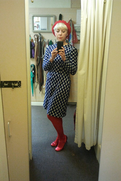 red American Apparel hat - navy vintage dress - red Ebay tights
