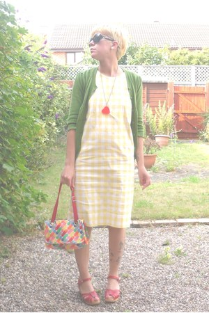 light yellow cotton vintage dress - Womens secret bag