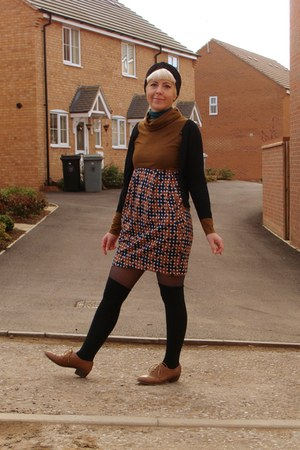 tawny wool mix H&M dress - tawny brogues Primark shoes