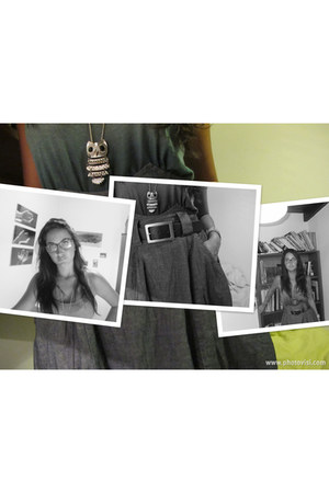denim vintage skirt - green tied blouse - brown leather belt - silver owl neckla