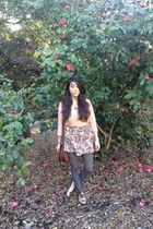 floral mstylelab skirt - gold oxfords Deena & Ozzy shoes