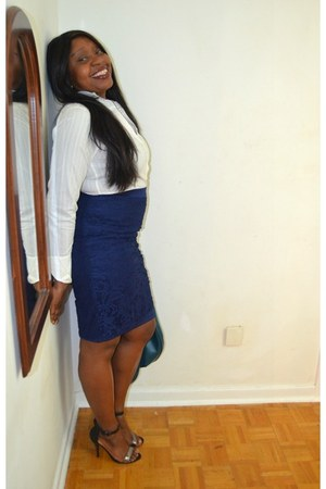 lace overlay Walmart skirt - turquoise danier bag