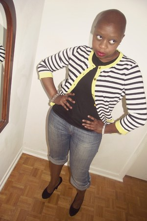 black Steve Madden heels - H&M jeans - yellow Cable & Gauge cardigan