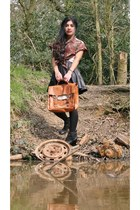 vintage bag - River Island boots - Miss Selfridge skirt - Motel Vintage blouse