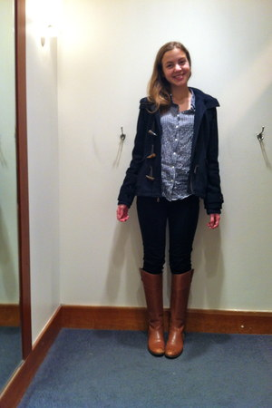 tawny leather Ciao Bella boots - navy toggle delias coat
