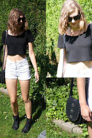white new look shorts - black h&m divided shirt