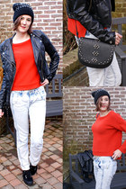 red Zara jumper - white Fornarina jeans - black H&M jacket - black Mango bag