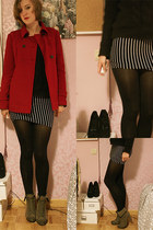 ruby red coat - black striped Forever 21 dress - black H&M sweater