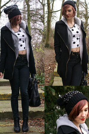 black Topshop boots - black new look jeans - black H&M hat