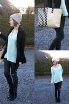 black Topshop boots - black Fornarina jeans - beige H&M hat