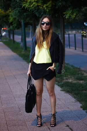 Zara shirt - Mango jacket - Zara shorts - ray-ban sunglasses - Zara heels