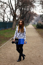 black Zara boots - blue Choies skirt - silver Sheinside sweatshirt