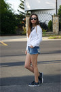 Choies-sweater-zara-shorts-ray-ban-sunglasses-mango-necklace