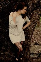 silver Zara blouse - black tights
