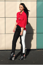 black H&M pants - red vintage blouse
