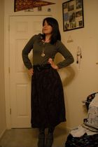 silver modcloth accessories - gray Tulle sweater - purple thrifted skirt - black