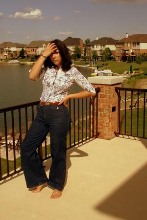 white Forever21 shirt - blue H&M jeans - brown Brighton belt