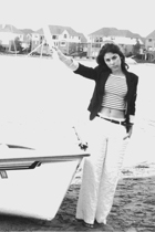 white linen H&M pants - black boyfriend Forever 21 blazer