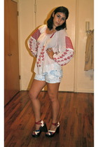 vintage blouse - forever 21 shorts - Topshop shoes