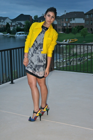 versace jacket - Forever21 dress - shoes