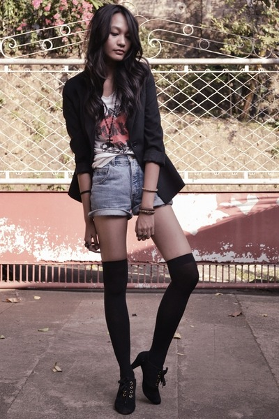 blazer - Graniph shirt - denim shorts - oxford heels