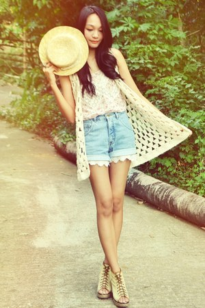 boater hat - denim shorts - Zara romper - peeptoe lace-up Jellybean wedges - cro