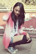 shorts - sleeveless top - ombre cardigan - stockings - sneakers