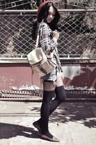 ruby red beanie hat - black plaid thrifted shirt - camel vintage bag - shorts -