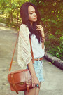 Messenger-bag-shorts-top-lace-up-wedges-crocheted-cardigan