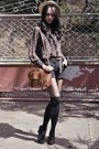 Boater-hat-messenger-bag-shorts-sheer-ruffled-blouse-oxford-heels