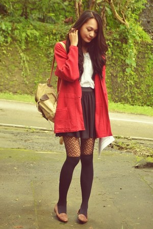 big red cardigan - tights - bag - top - cotton on skirt - loafers