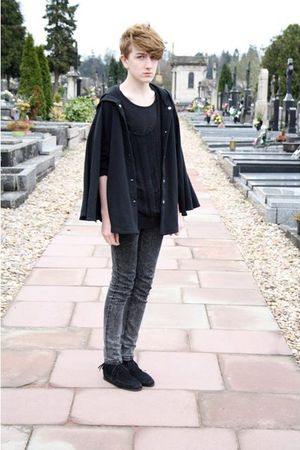 black Monkil shoes - gray Cheap Monday jeans - black DIY Shredded cardigan - bla