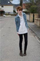 brown Marcopolo shoes - black Cheap Monday jeans - white Zara top - blue Lee jac