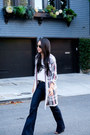 Wide-leg-mih-jeans-jeans-aviator-ray-ban-sunglasses-plaid-pleione-cardigan