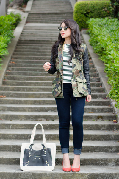 tote Thursday Friday bag - skinny jeans Henry & Belle jeans - camo obey jacket