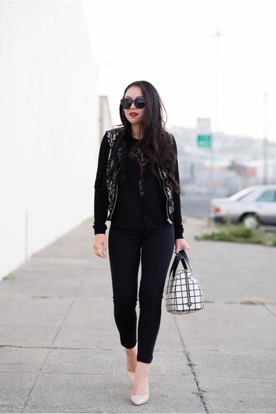 lace H&M jacket - windowpane Fossil bag