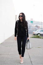 lace H&M jacket - windowpane Fossil bag