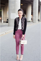 bomber H&M jacket - metallic coach bag - hearts Topshop pants