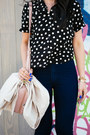 High-waisted-american-apparel-jeans-asos-shirt-polka-dot-forever-21-bag