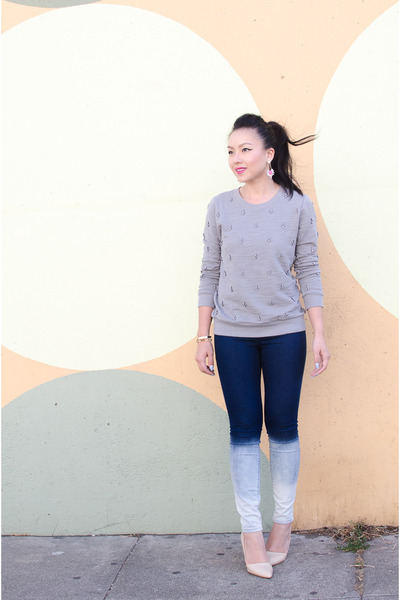 ombre Henry & Belle jeans - rhinestone JCrew sweatshirt - neon jeweliq earrings