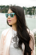 sequin Forever 21 jacket - mirror rayban sunglasses - cotton obey t-shirt
