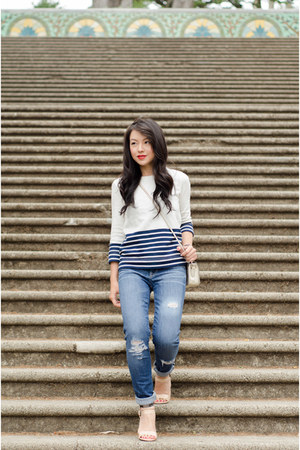 metallic Forever 21 heels - distressed Gap jeans - stripe JCrew sweatshirt
