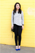 oversized Forever 21 sweater - pumps Alice  Olivia heels