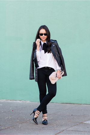 button up asos blouse - leather Michael Kors jacket - lace up rachel roy heels