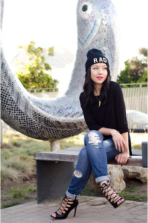 beanie asos hat - oversized Forever 21 shirt - lace up Zara heels
