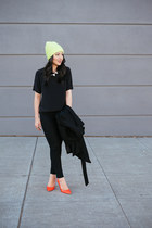 t-shirt amanda uprichard blouse - skinny Henry & Belle jeans - neon JCrew hat