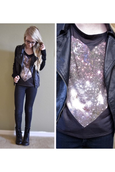 puce Forever21 t-shirt - navy skinny jeans Forever21 jeans