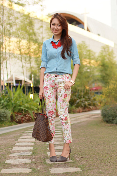 chambray Uniqlo top - neverfull Louis Vuitton bag - pointed Zara heels