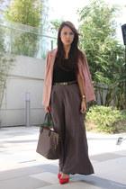 rose H&M blazer - neverfull Louis Vuitton bag - wide leg Dorothy Perkins pants
