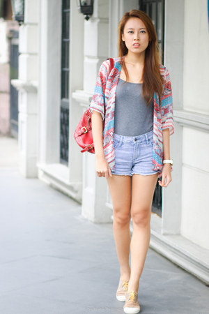 red Nine West bag - denim Forever 21 shorts - gray H&M top